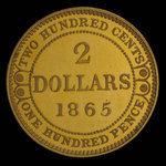 Canada, Victoria, 2 dollars <br /> 1865