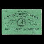 Canada, Moisic Iron Company, 1 cent : 1876