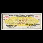 Canada, Alberta - Unemployment Relief Commission, 1 dollar, 20 cents <br /> March 16, 1933