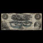 Canada, Zimmerman Bank, 3 dollars <br /> February 1, 1859