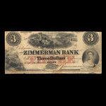 Canada, Zimmerman Bank, 3 dollars <br /> December 1856