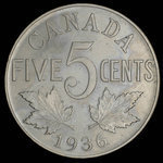 Canada, George V, 5 cents <br /> 1936