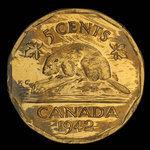 Canada, George VI, 5 cents <br /> 1942