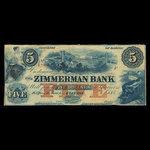 Canada, Zimmerman Bank, 5 dollars <br /> 1859