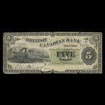 Canada, British Canadian Bank, 5 dollars <br /> September 15, 1884