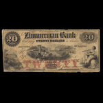 Canada, Zimmerman Bank, 20 dollars <br /> June 7, 1856