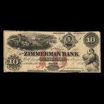Canada, Zimmerman Bank, 10 dollars <br /> July 7, 1856