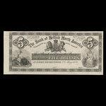 Canada, Bank of British North America, 5 dollars <br /> May 1, 1871