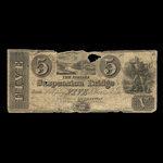 Canada, Niagara Suspension Bridge Bank, 5 dollars <br /> 1841