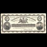 Canada, Bank of British North America, 4 dollars <br /> December 1, 1874