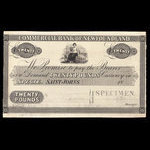 Canada, Commercial Bank of Newfoundland, 20 pounds <br /> 1859