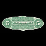 Canada, Standard Bank of Canada, 5 dollars <br /> November 1, 1876