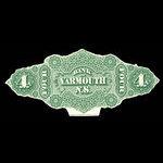 Canada, Bank of Yarmouth, 4 dollars <br /> July 1, 1870