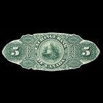 Canada, Exchange Bank of Canada, 5 dollars <br /> October 1, 1872
