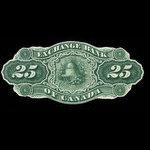 Canada, Exchange Bank of Canada, 25 dollars <br /> November 1, 1872