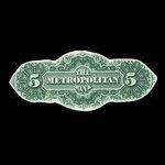 Canada, Metropolitan Bank, 5 dollars <br /> 1872