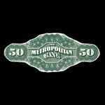 Canada, Metropolitan Bank, 50 dollars <br /> 1872