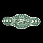 Canada, Metropolitan Bank, 100 dollars <br /> 1872
