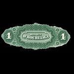 Canada, Banque d'Hochelaga, 4 piastres <br /> January 2, 1874