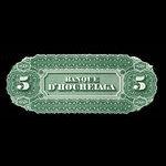 Canada, Banque d'Hochelaga, 5 piastres <br /> January 2, 1874