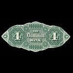 Canada, Dominion Bank, 4 dollars <br /> February 1, 1871
