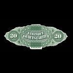 Canada, Banque Jacques-Cartier, 20 piastres <br /> May 2, 1870