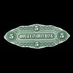 Canada, Royal Canadian Bank, 5 dollars <br /> July 1, 1872