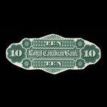 Canada, Royal Canadian Bank, 10 dollars <br /> July 1, 1872