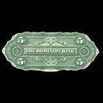 Canada, Dominion Bank, 5 dollars <br /> February 1, 1871