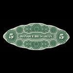 Canada, Banque de St. Jean, 5 dollars <br /> September 1, 1873
