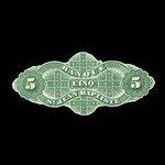 Canada, Banque St. Jean Baptiste, 5 dollars <br /> June 24, 1875