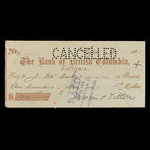 Canada, Bank of British Columbia, 136 dollars, 76 cents <br /> September 28, 1885