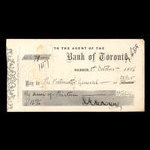 Canada, Bank of Toronto (The), 13 dollars, 42 cents <br /> October 1, 1866