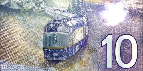 Back of the $10 polymer note