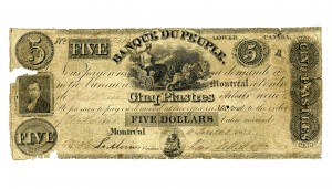 Banque du Peuple 5 dollar bill, 1835 / Billet de 5 paistres de la Banque du peuple, 1835