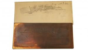 Printing plate for bank cheque, Imperial Bank, Rat Portage, Ontario,1890s / Plaque d'impression de lettres de change d'un banquier privé, Mihell's Bank, Ailsa Craig (Ontario), années 1870