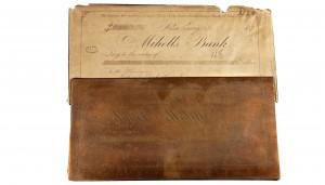 Printing plate for private bankers draft, Mihell's Bank, Ailsa Craig, Ontario, 1870s / Plaque d'impression de lettres de change d'un banquier privé, Mihell's Bank, Ailsa Craig (Ontario), années 1870