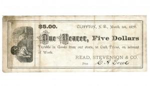 Read and Stevenson merchant scrip, $5, 1876 / Bon de marchand de Read and Stevenson, 5 dollars, 1876