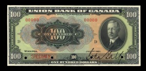 Union Bank of Canada, 1 July 1921, 100 dollars, specimen / Union Bank of Canada, 1er juillet 1921, 100 dollars, spécimen