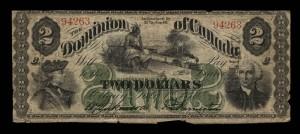 Dominion of Canada, 1 July 1870, 2 dollars payable at Toronto, overprinted MANITOBA / Dominion du Canada, 1er juillet 1870, billet de 2 dollars payable à Toronto, avec l'inscription MANITOBA en surcharge