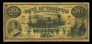 Bank of Toronto (1855-1954), 1 July 1887, 20 dollars, overprinted Winnipeg, issued note / Banque de Toronto (1855-1954), 1er juillet 1887, 20 dollars, inscription WINNIPEG en surcharge, billet émis