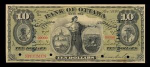 Bank of Ottawa (1874-1919), 2 November 1880, 10 dollars, overprinted Winnipeg, specimen / Banque d'Ottawa (1874-1919), 2 novembre 1880, 10 dollars, inscription WINNIPEG en surcharge, specimen