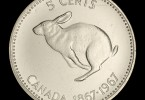 Commemorative 5 cent Canadian coin, 1967