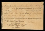 "Red River Settlement, Hudson's Bay Co., 19 February 1835, bill of exchange for 10 pounds, 2 shillings payable to the ""Fur Trade,"" signed by Thomas Bunn, father of John Bunn Councillor of Assiniboia / Colonie de la rivière Rouge, Compagnie de la Baie d'Hudson, 19 février 1835, lettre de change au montant de 10 livres, 2 shillings libellée à « Fur Trade » et signée par Thomas Bunn"