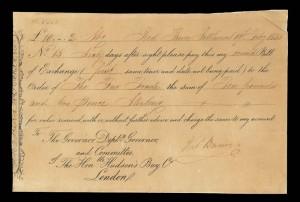"""Red River Settlement, Hudson's Bay Co., 19 February 1835, bill of exchange for 10 pounds, 2 shillings payable to the """"Fur Trade,"""" signed by Thomas Bunn, father of John Bunn Councillor of Assiniboia / Colonie de la rivière Rouge, Compagnie de la Baie d'Hudson, 19 février 1835, lettre de change au montant de 10 livres, 2 shillings libellée à « Fur Trade » et signée par Thomas Bunn"""