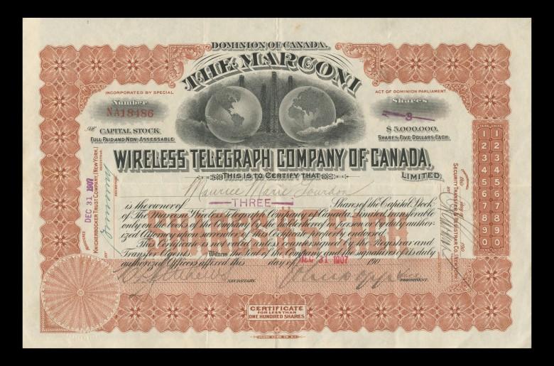 Canada, Share Certificate, Marconi Wireless Telegraph Company, 1906