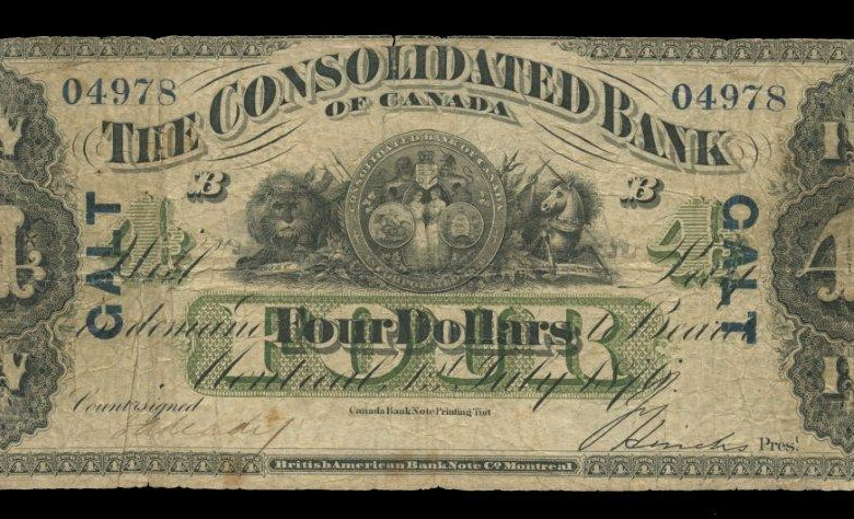 Consolidated Bank of Canada, $4 note, 1876, overprinted Galt