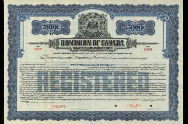 Dominion of Canada, specimen registered bond, August 1915
