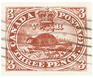 Canada's first stamp, the 3 Pence Beaver, 1851