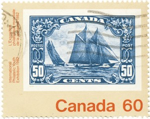 Commemorative stamp of a stamp: Bluenose, 1929